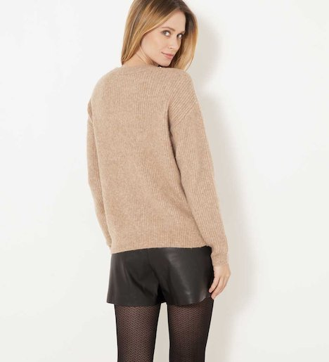 Pull col bijoux maille mousseuse