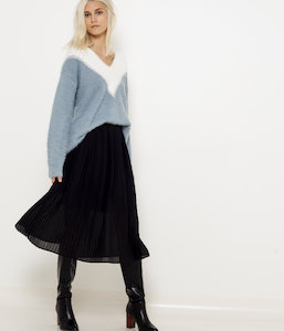 Pull shaggy bicolore femme