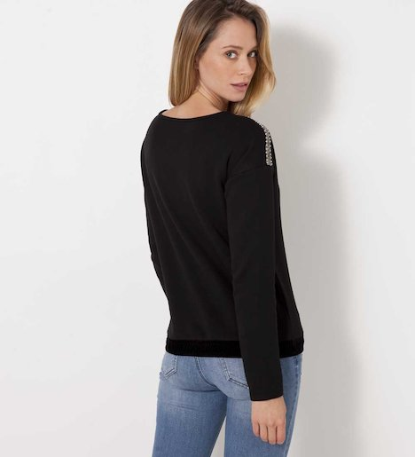 Sweat cropped bas velours femme