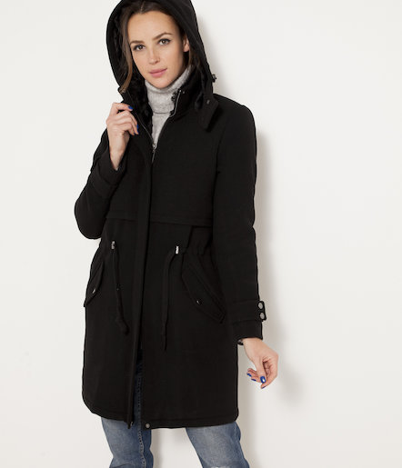 manteau esprit parka femme noir femmes cama eu. Black Bedroom Furniture Sets. Home Design Ideas