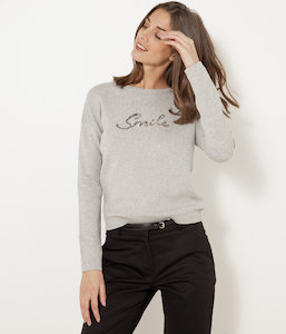 Pull inscription paillettes femme