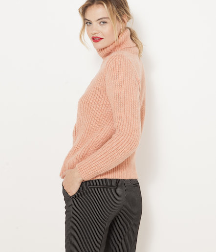 Pull grosse maille col roulé femme
