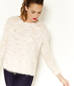 Pull femme maille poilue
