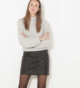 Pull loose col montant femme
