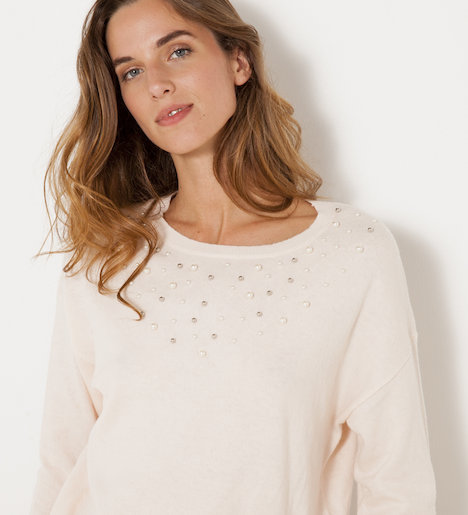 pull femme a perles