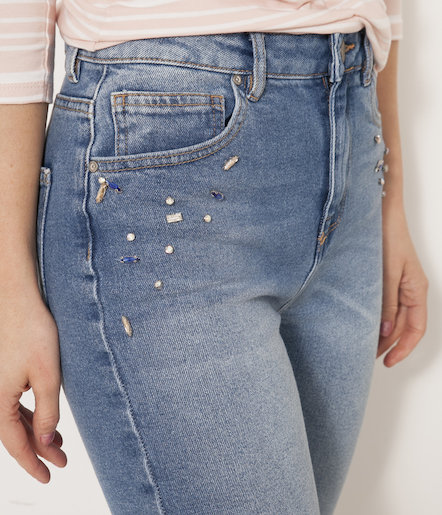 d13f57a73f9 Jean taille haute fantaisie femme - stone used Femmes Camaïeu