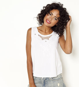 Top femme broderies anglaise