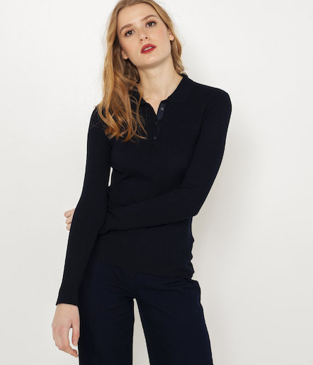 Pull fin col polo femme